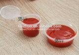 чашка соуса впрыски 0.75oz устранимая пластичная с прикрепленной на петлях крышкой