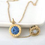 [ستينلسّ ستيل] نساء مجوهرات نمو يفتن بلورة مستديرة عقد مدلّاة