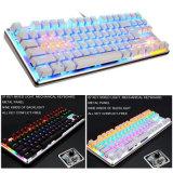 Das 87 Schlüssel-Spiel-Tastatur Mehrfarben-LED leuchtete Tastatur USB-Spiel-Tastatur verdrahtete LED Backlit Spiel-Tastatur mit dem mechanischen Schwimmen taktil