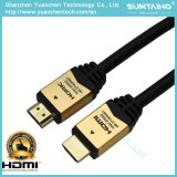 Cabo chapeado do escudo 24k ouro de alumínio HDMI do PVC com Ethernet