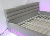 Кровать конструкции самомоднейшая СИД способа двойная, белая неподдельная кожа (HC565)