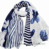 Sciarpa della Stripe&Flourish Joint Printing Viscose della signora (HWBPS023)