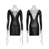 Q-312 Punk Party Hollow heraus Deep V PU Dress für Various Occasions