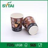 Cuvettes de papier isolées par café remplaçable fait sur commande d'ondulation d'impression