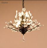 Освещение светильника канделябра живущий металла типа комнаты 7-Lights античного Америка кристаллический, законченное в черноте/античной латунной картине