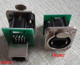 Conector RJ45 de alta qualidade para uso em Patchfields - lado traseiro acomoda plug padrão RJ45