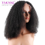 Yvonne 180% 조밀도 아프로 꼬부라진 레이스 정면 사람의 모발 가발 브라질 Virgin 머리 자연적인 색깔