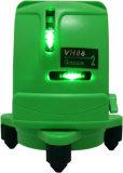 El laser de la línea de cruce con 2 líneas claramente visibles del laser avanzó la línea verde del laser