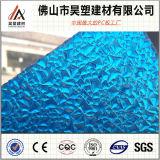 Hoja plástica grabada policarbonato de la PC azul del lago sheet para los materiales de material para techos