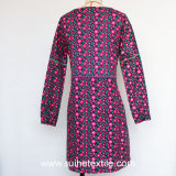 Sleeve lungo Fashion Print Woven Dress per Ladies