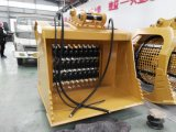 O material da máquina escavadora recicl a cubeta do triturador que esmaga a cubeta
