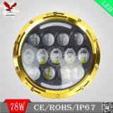 """7 """" 78W luz principal redonda del oro LED para el Wrangler del jeep"""