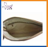 Poche cosmétique de sac cosmétique d'unité centrale de qualité de Brown avec le traitement d'unité centrale
