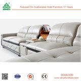 Lederne hölzerne Sofa-Hotel-Vorhalle-Möbel-goldene Qualitätsmodernes ledernes Sofa für Verkaufs-Wohnzimmer-Möbel