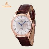 Relojes azules 72338 de la mano del reloj de los hombres del oro de cuero de lujo de Rose