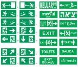 Meglio che vende emergenza chiara fissata al muro con il segno dell'uscita per l'uscita d'emergenza