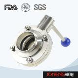 ステンレス鋼の引きのハンドルによって溶接される衛生蝶弁(JN-BV3001)