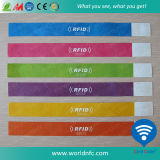 PVC 13.56MHz Ntag213 RFID Nfc Wristband de Customize Uno Tiempo Use Disposable Paper Soft de la insignia