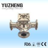 Fabricante sanitario de la vávula de bola del T-Puerto de Yuzheng