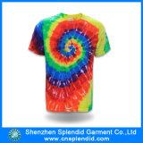 Uomini che coprono le magliette della tintura del legame del cotone del Rainbow di fabbricazione