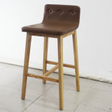 Wood solido con Leather Soft Bar Chair