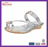 Oro Color Shiny PU sandalias para señora