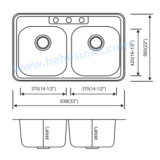 Double bassin d'une seule pièce d'acier inoxydable de Topmount de cuvette, bassin de cuisine (8456)