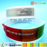 Bracelete descartável Ultralight impermeável do parque MIFARE EV1 RFID da água