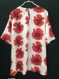 Le tempérament mince de chemise Chiffon estampé par chemise courte d'été complète le T-shirt