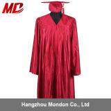 高校卒業の式服式帽の光沢がある赤