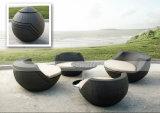 O Rattan ao ar livre que dobra o sofá da esfera redonda ajustou-se (MTC-056)