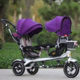 2016 neues Entwurfs-Zwilling-Kind-Dreirad, Stoss-Spaziergänger