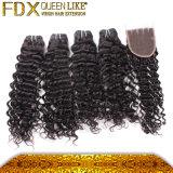 Closureの巻き毛のHolding Deep WaveインドのHuman Hair