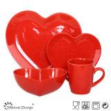 Ensemble en céramique de Tabelware de coeur romantique d'amour