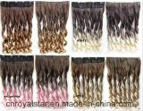 Cheveu et clips ondulés de prolonge de clip de cheveu de Vierge dans la prolonge de cheveu