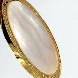 Mujeres de lujo plateadas oro cristalino de piedra grande redondo plano pendientes