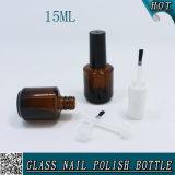 emballage ambre cosmétique de bouteille en verre de vernis à ongles 15ml