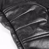 Rivestimenti di cuoio di disegno di alto Short nero punk pesante unico del collare (Y-764)