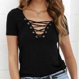 方法女性のセクシーなV首の包帯のTシャツはブラウスに着せる