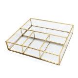Regalo promocional al por mayor del almacenaje del metal decorativo de cristal joyas caja de presentación