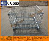 Cestino resistente d'acciaio accatastabile e piegante della rete metallica per memoria del magazzino