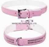 Rhinestone macio super da cor-de-rosa/verde dentro do colar do animal de estimação, produtos do cão
