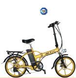 E-Bicicletta dorata pieghevole di stile 36V 250W del blocco per grafici della lega di alluminio (JSL039X48-5)