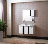 Module de salle de bains blanc et noir fixé au mur en bois de chêne de série de Module