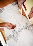 Chiffre mince amoureux A - ligne robe de point culminant de Tulle de branchement de Bling de mariage
