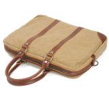 洗浄されたキャンバスファブリック本革袋の革ハンドバッグ(RS-8568)