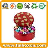 Круглая коробка олова для шоколада, контейнера олова металла еды