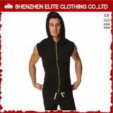 Slim Fit Gym em branco impermeável Zipper Bodybuilding Hoodie para homens (ELTHSJ-1070)