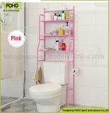 De RuimteSpaarder van de Plank van de badkamers over de Organisator van de Opslag van de Planken van het Metaal van de Draad van het Toilet met Rij 3