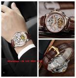 Moda reloj de los hombres automáticos de la correa de cuero genuino Fs554